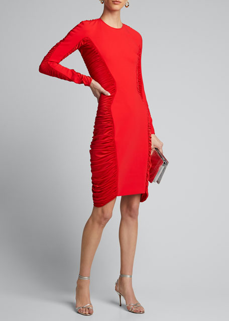 Image 1 of 1: Jersey Long-Sleeve Ruched-Side Dress