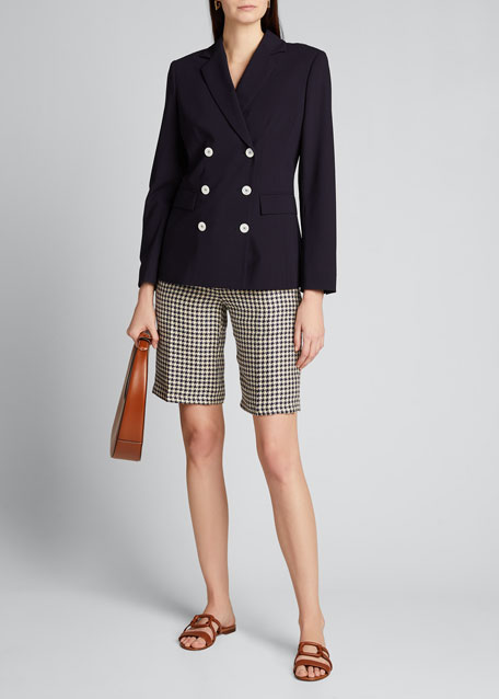 Image 1 of 1: Houndstooth Linen Bermuda Shorts