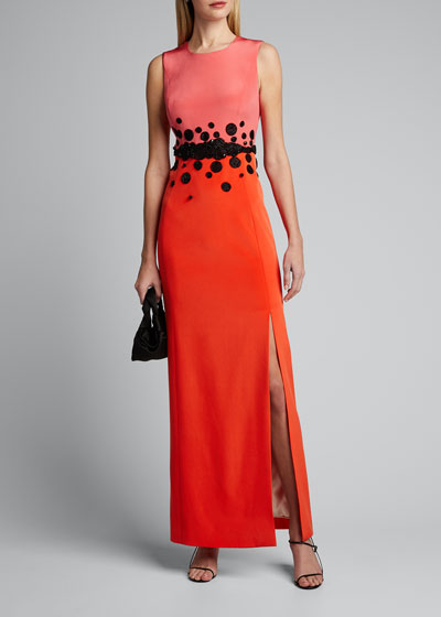 Sleeveless Two-Tone Silk Crepe Gown