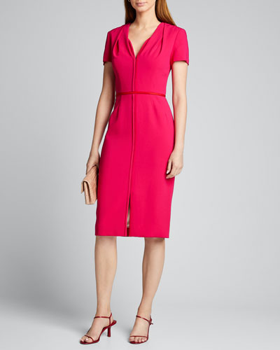 Cap-Sleeve Stretch-Silk Midi Dress