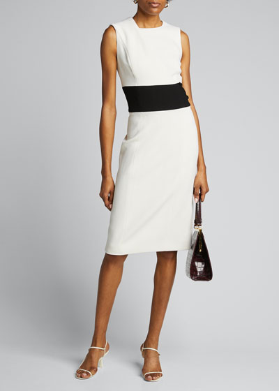 Wool Crepe Midi Dress w/ Mid-Band
