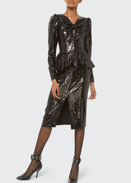 Image 1 of 1: Sequined Long-Sleeve Peplum Dress