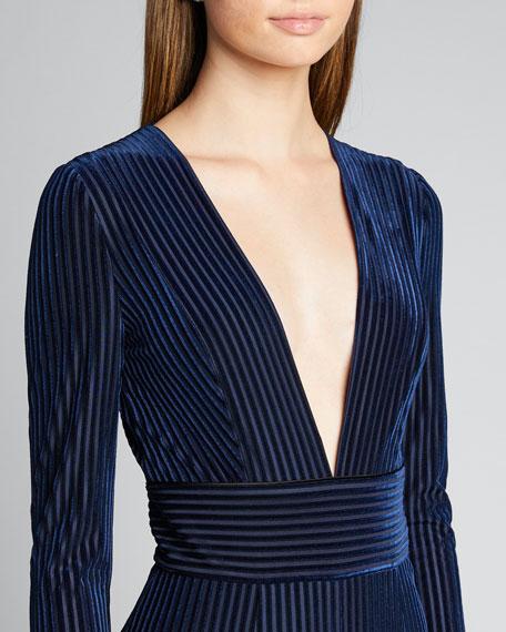 Velvet Deep-V Long-Sleeve Gown