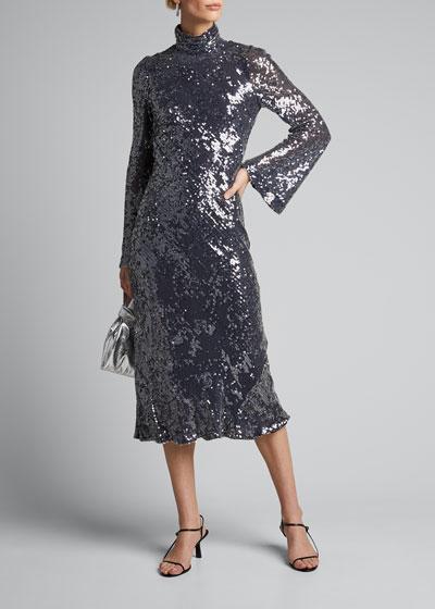 Sequined High-Neck Open-Back Dress