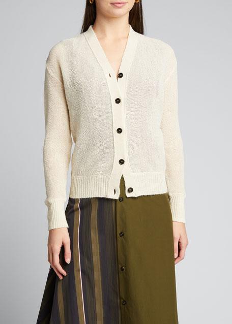 Long-Sleeve Open Weave Sheer Cardigan