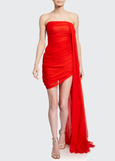 Image 1 of 1: Draped Chiffon Strapless Mini Dress