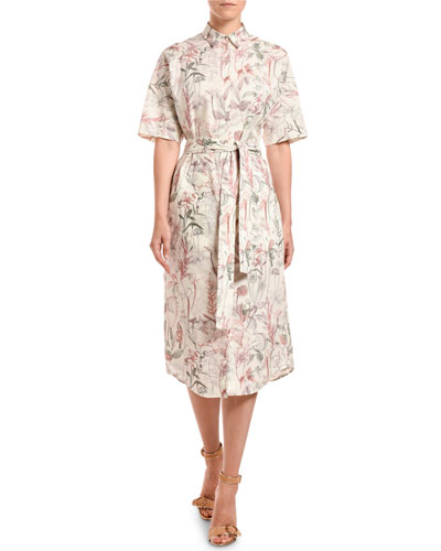 Short-Sleeve Floral-Print Poplin Shirtdress