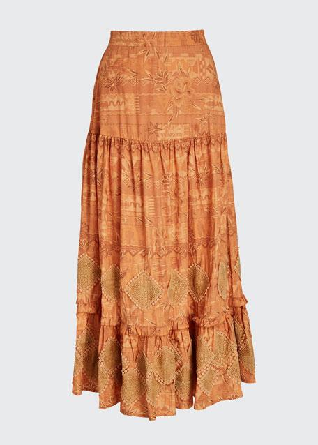 Miski Tiered Tropical Print Maxi Skirt