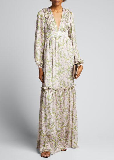 Iman Floral Print Chiffon A-Line Dress