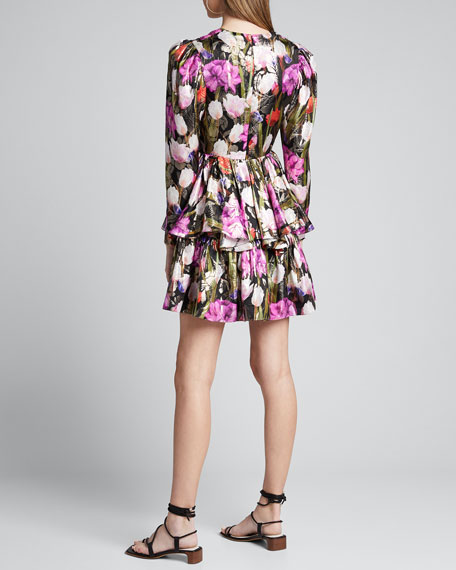 Amelia Metallic Floral Jacquard Dress