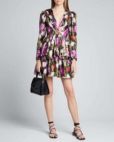 Amelia Metallic Floral Jacquard Dress