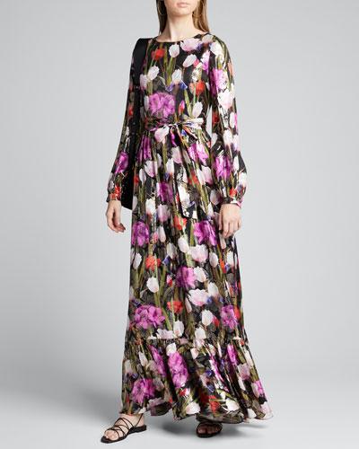 Dianora Metallic Floral Jacquard Maxi Dress