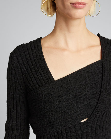 Boucle Ribbed V-Neck Sweater