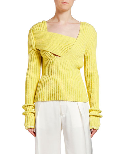 Asymmetric Square-Neck Ribbed Sweater