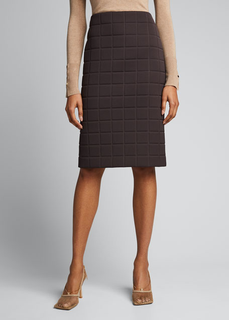 Quilted Satin Pencil Skirt
