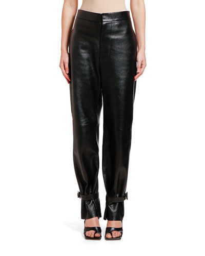 Leather Tabbed-Cuff Pants