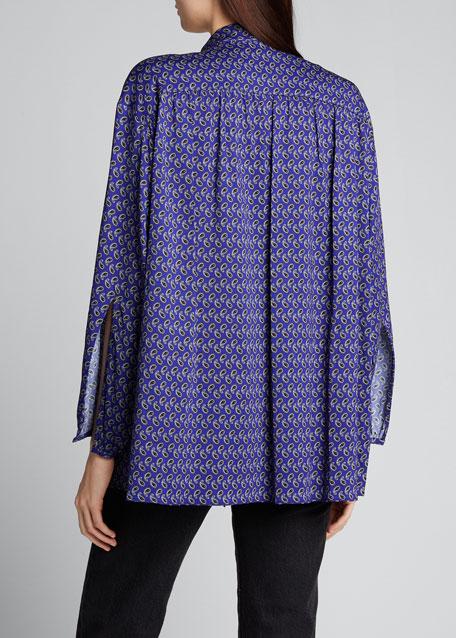 Paisley-Print Scarf-Neck Blouse
