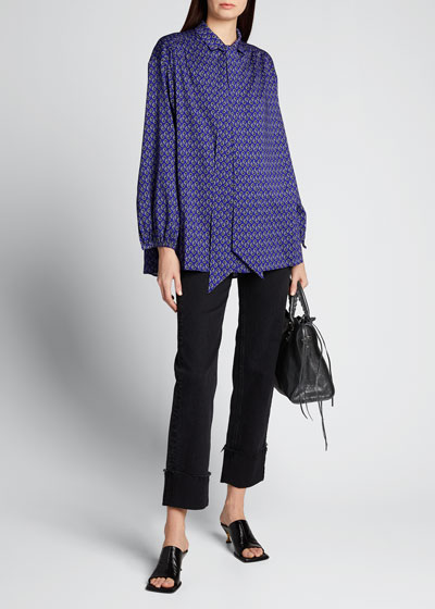 Paisley-Print Scarf-Neck Blouse