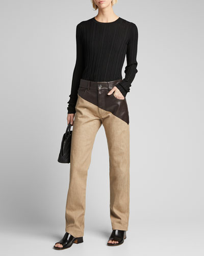 Denim Pants with Asymmetric Leather Waist