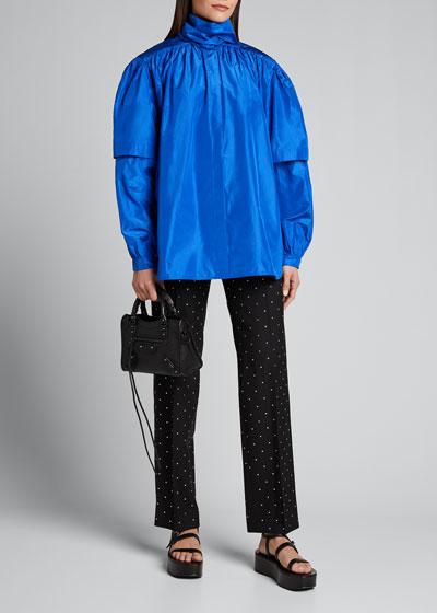 Crystal-Studded Wool Gabardine Crop Pants