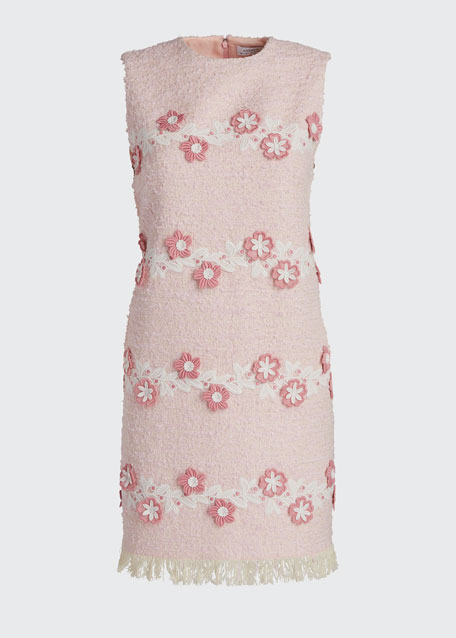 Sleeveless Tweed Shift Dress w/ Floral Embroidery