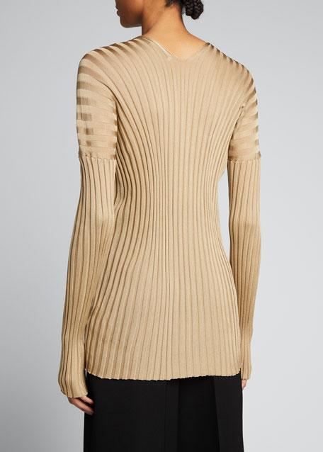 Silk Ribbed Long-Sleeve Sweater