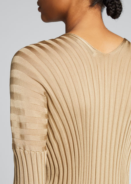Silk Ribbed Long-Sleeve Sweater