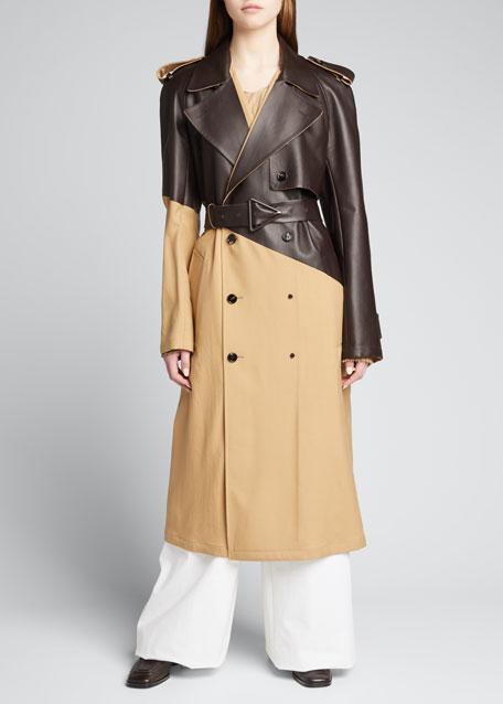 Leather & Gabardine Trench Coat