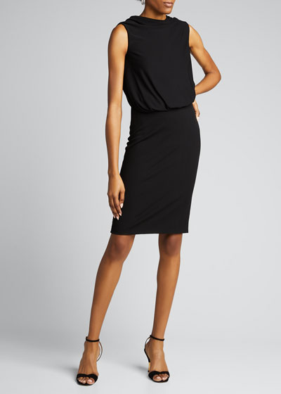 Draped Jersey Sleeveless Cocktail Dress