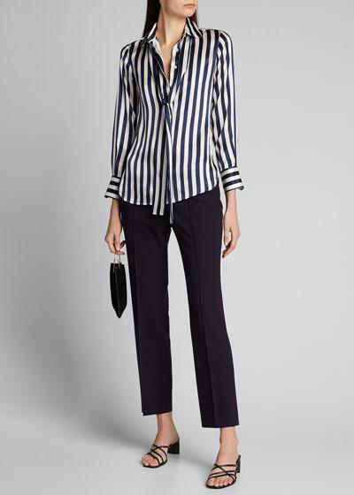 Stripe Silk Tie-Neck Blouse