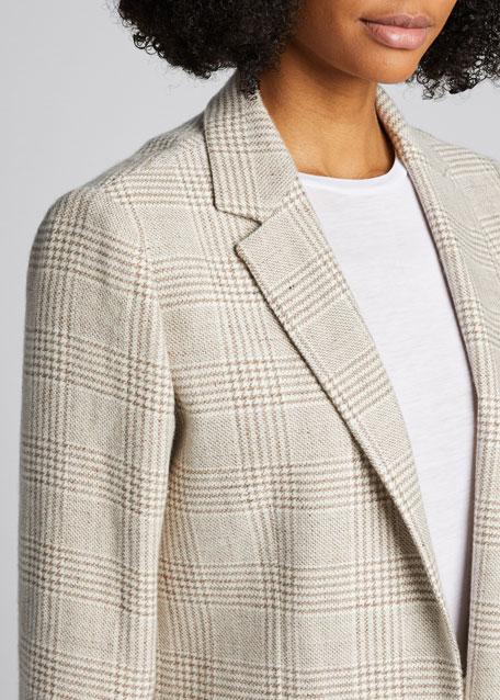 Checked Cashmere-Linen Blazer