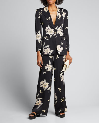 Spaced Plumeria Floral Print Pinstriped Blazer