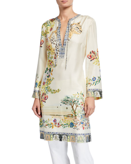 Image 1 of 1: Floral Print Safari Silk Caftan