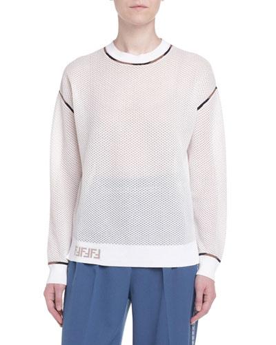 Sponge Mesh Drop-Shoulder Sweater