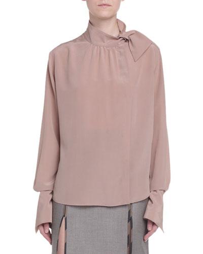 Asymmetric Button-Front Blouse