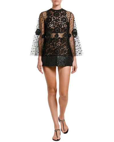 Jeweled Lace Bell-Sleeve Blouse