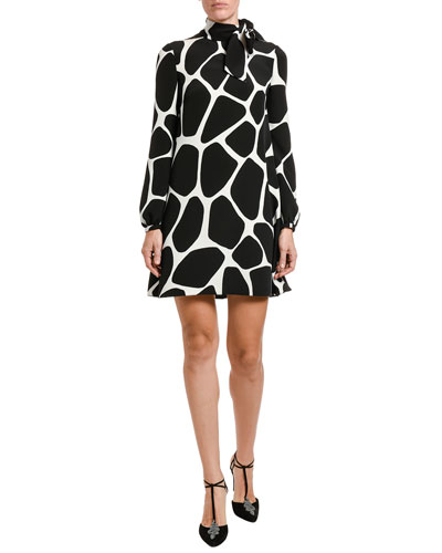 Giraffe-Print Cady Long-Sleeve A-line Dress