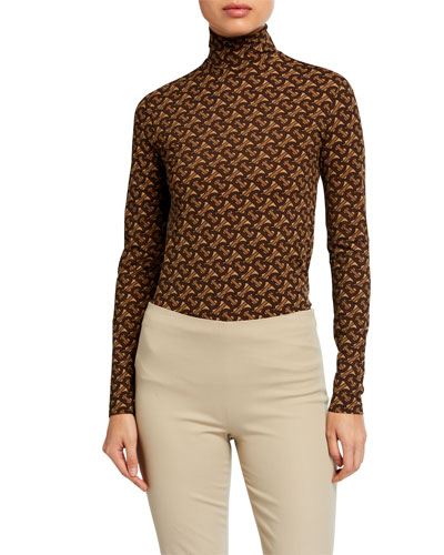 Monogram Print Jersey Turtleneck Top