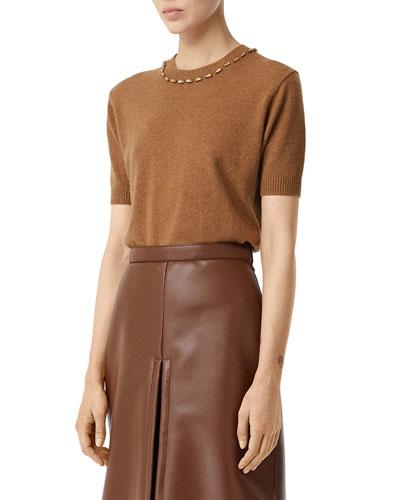 Ahaura Cashmere Short-Sleeve Sweater