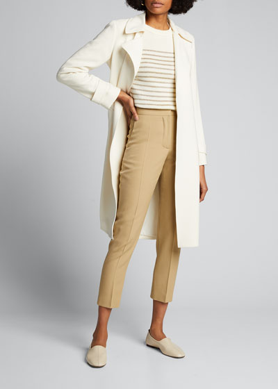 Crepe Slim-Leg Cropped Pants