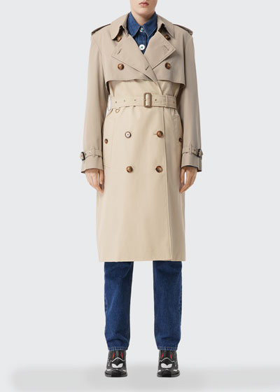 Gabardine Double-Breasted Trench Coat