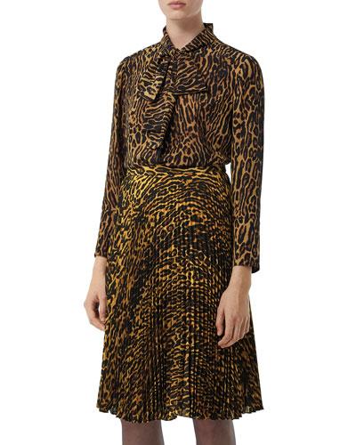 Leopard-Print Silk Button-Front Shirt
