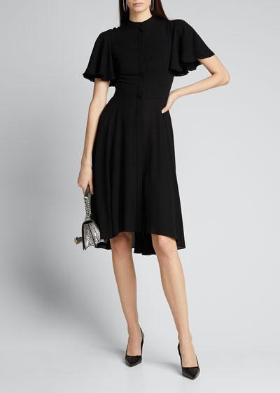Georgette Flutter-Sleeve Silk Dress