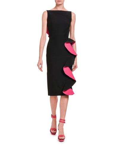 Contrast-Face Ruffled Cutout Midi Dress