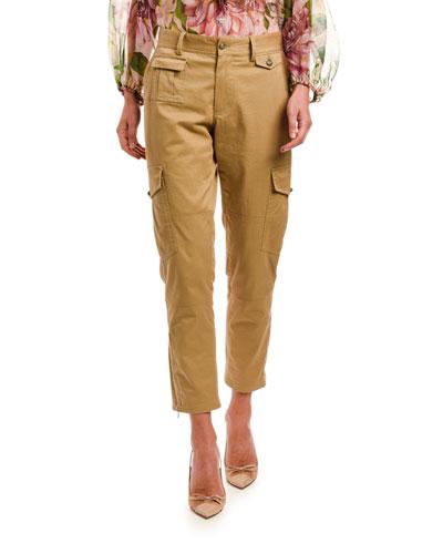 Khaki Straight-Leg Cargo Pants