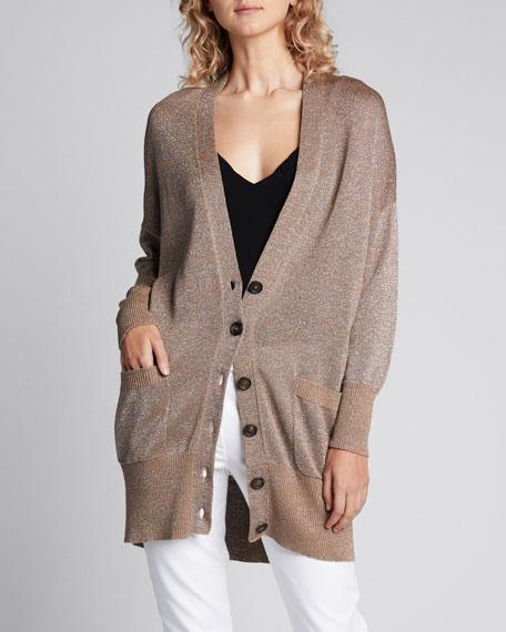 Sparkled-Cotton Button Front Cardigan