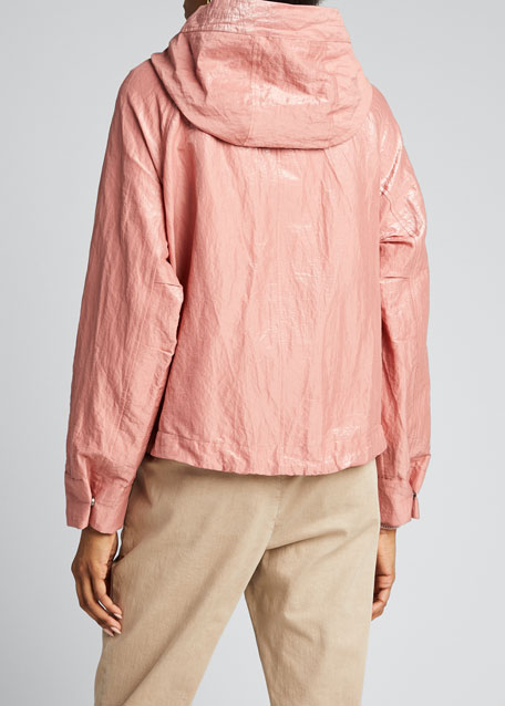Shiny Cotton Zip-Front Jacket