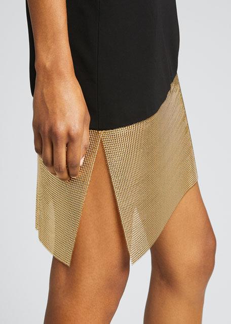 Asymmetric Cutout Chainmail-Hem Cocktail Dress