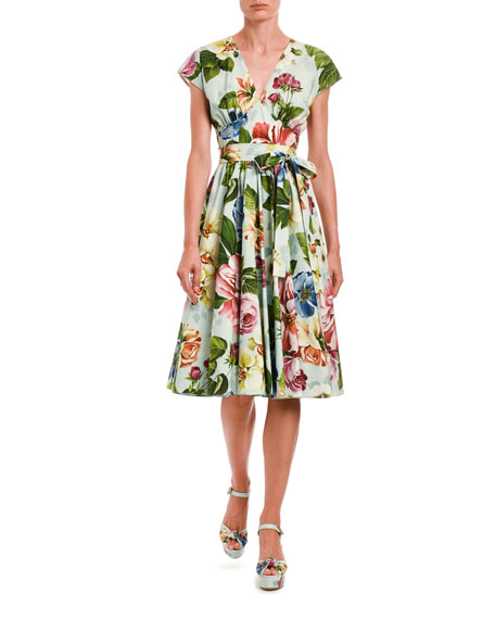 Image 1 of 1: Floral Wrap Midi Dress