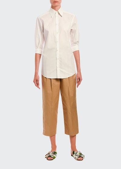 3/4-Sleeve Poplin Button-Front Shirt